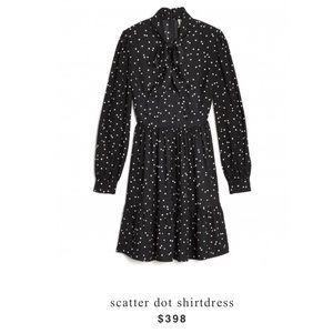 Kate Spade Black Polka Scatter Dot Shirtdress 8